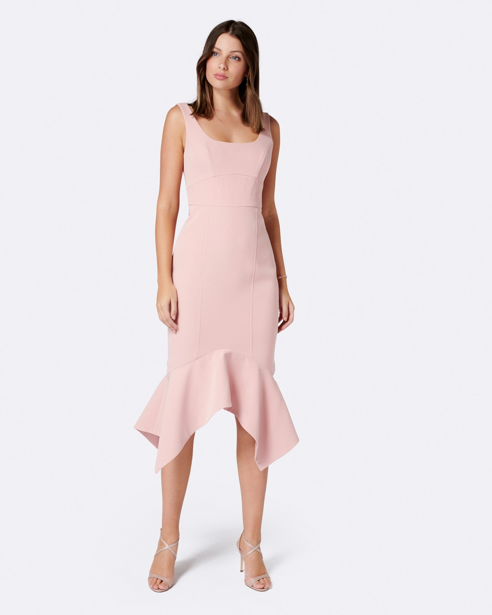 Forever New Clara Bodycon Hanky Hem Dress Dresses Pink Clara Bodycon Hanky Hem Dress