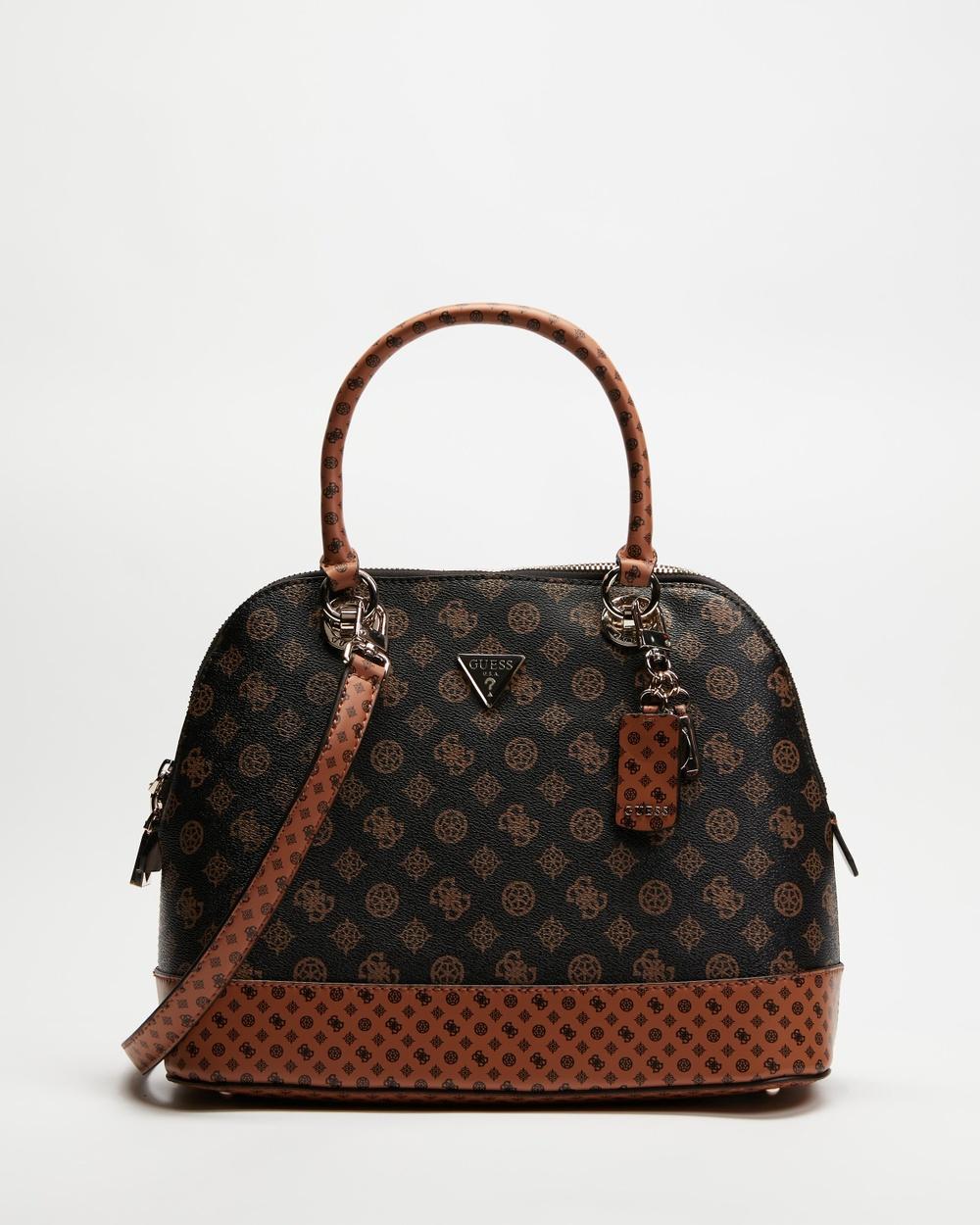 Guess Cessily Dome Satchel Bag Handbags Brown & Mocha
