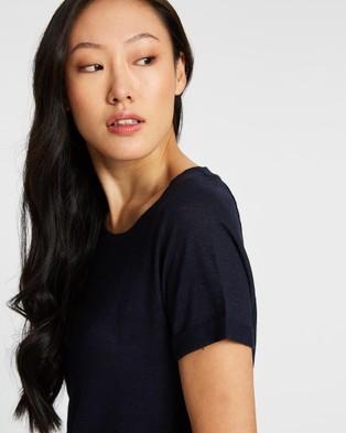 Sportscraft Tonia Round Neck Linen Tee - T-Shirts & Singlets (blue)