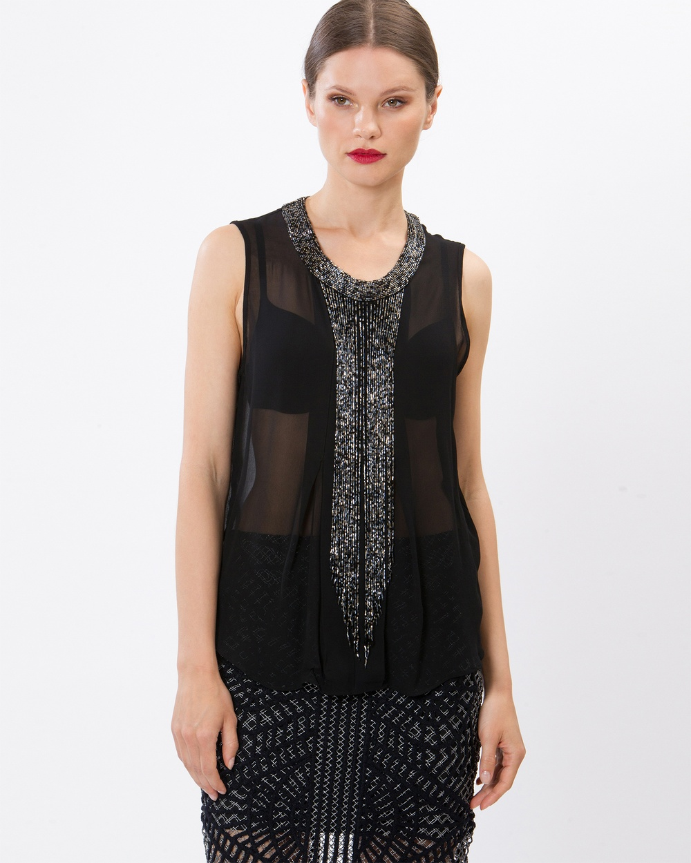 SIYONA Emanuelle Beaded Fringe Top Tops Black Emanuelle Beaded Fringe Top