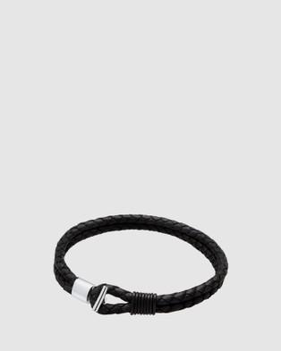 Kuzzoi Bracelet Basic Hook Genuine Leather Braided Cool 925 Sterling Silver - Watches (black)