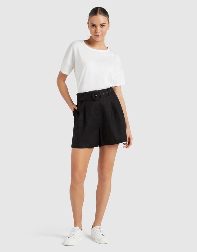 Women Linen Belted Shorts