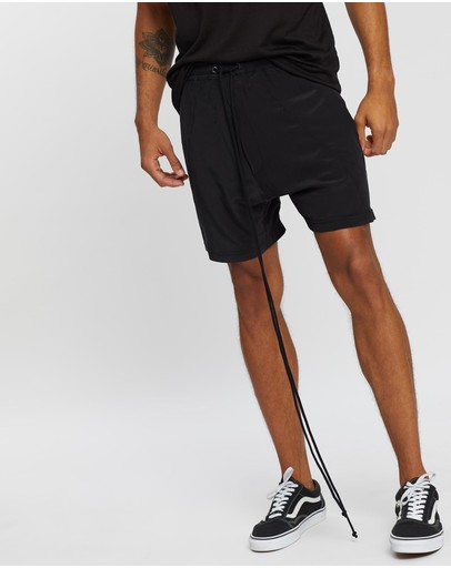 Surrounded By Ghosts The Iron Silk Drawstring Shorts Black