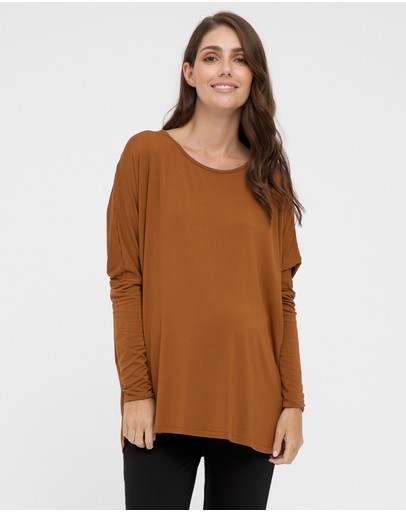 Bamboo Body Liv Long Sleeve Slouch Top Ginger