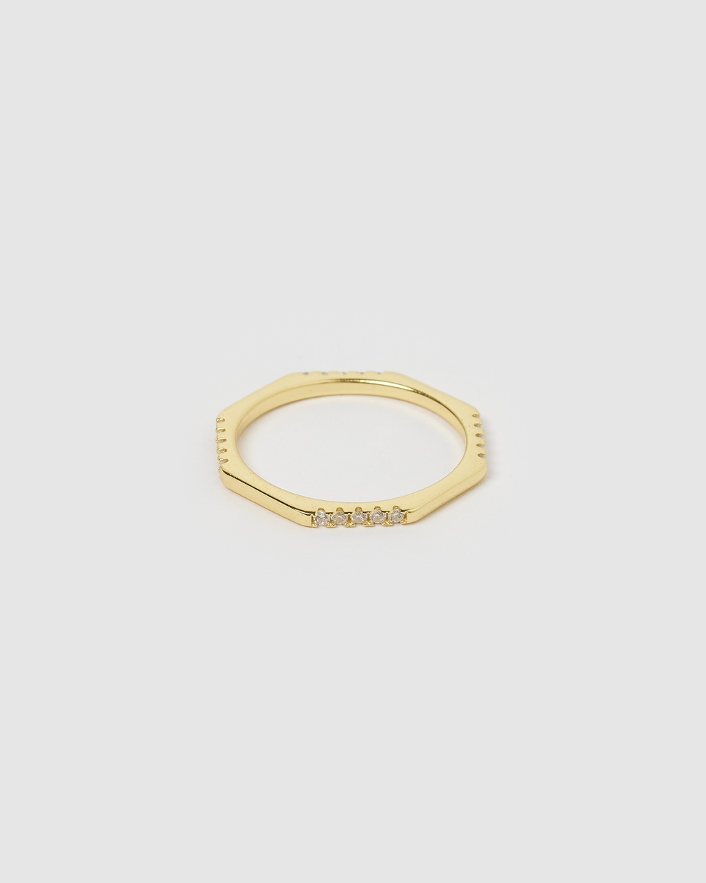 Arms Of Eve Sansa Stacking Ring Clear Quartz Jewellery Gold