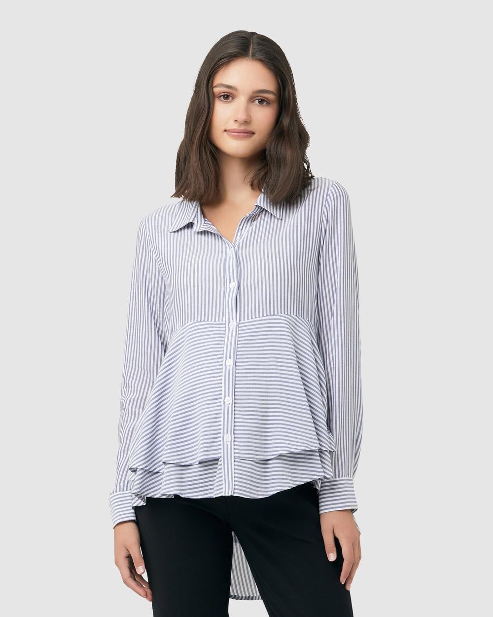 Ripe Maternity Stripe Layered Peplum Shirt Tops Navy/White Stripe Layered Peplum Shirt
