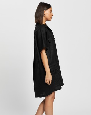 AERE Linen Utility Dress - Dresses (Black)