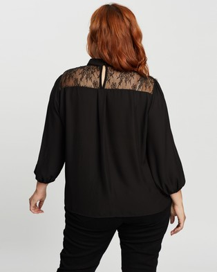 Atmos&Here Curvy Joslyn Contrast Lace Blouse - Tops (Black)