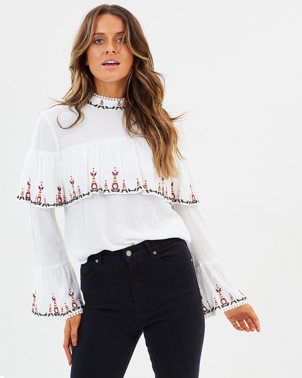 Gysette Hana Embroidered Top Tops Winter White Hana Embroidered Top