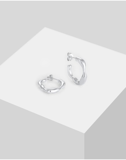 Elli Jewelry Earrings Creole Organic Structure In 925 Sterling Silver
