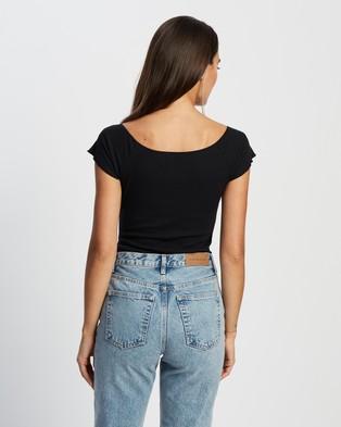 Glamorous Short Sleeve Bodysuit - Tops (Black)