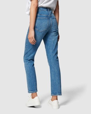Forever New Isabel Mid Rise Straight Crop Jean Georgia Blue