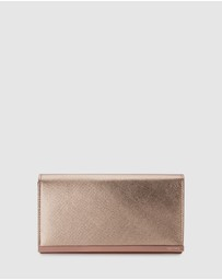 Olga Berg - Maddie Metallic Embossed Foldover Clutch
