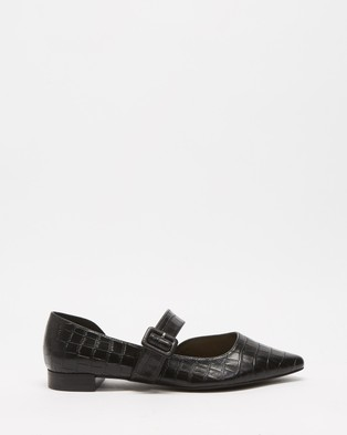 Atmos&Here - Cassis Leather Flats (Black Croc Embossed Leather)