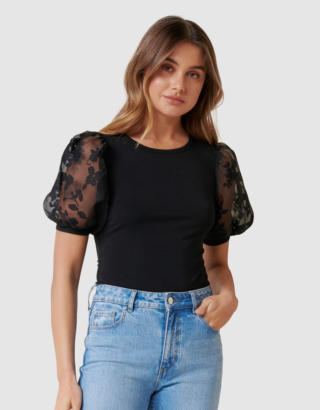 Forever New - Roza Floral Orgaza Puff Sleeve Top