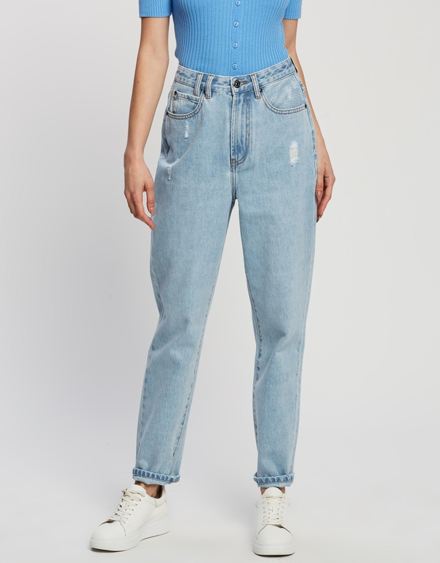 Atmos&Here - Martha Recycled Cotton Blend Denim Mom Jeans