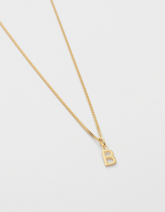 Women B Outline Initial Necklace