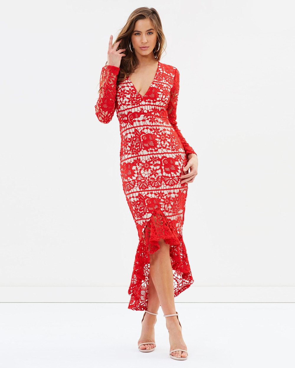 Missguided Lace Plunge Fishtail Hem Midi Dress Dresses Red Lace Plunge Fishtail Hem Midi Dress
