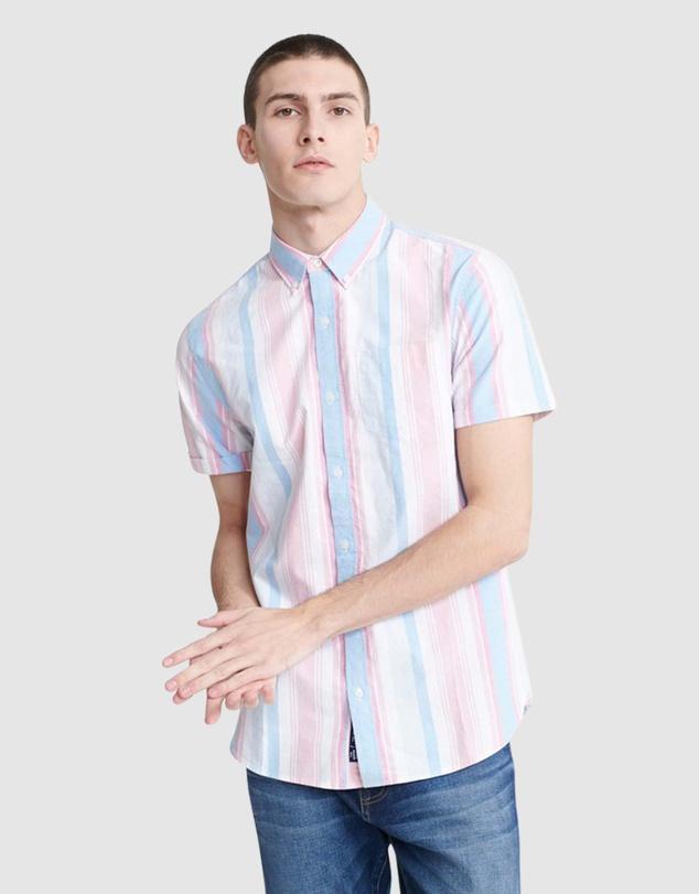 Men Classic East Coast Oxford Short Sleeved Shirt