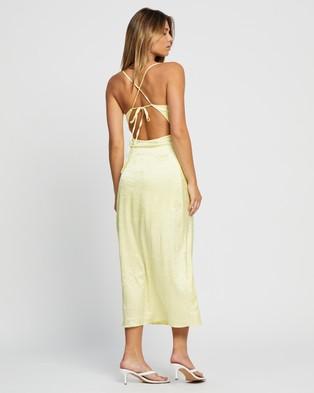 Glamorous Strappy Crinkle Sateen Midi Dress - Dresses (Lemon)