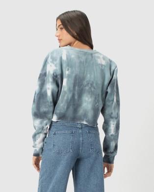 Cools Club Cropped Crew - Sweats (Blue Tie Dye)