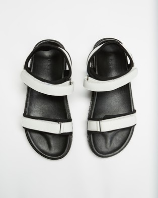 AERE Leather & Neoprene Chunky Sandals - Shoes (White Leather & Neoprene)
