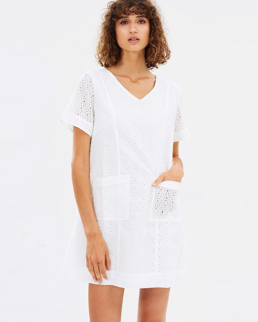 Ryder White Lina Lace Shift Dress