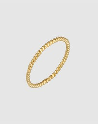 Elli Jewelry - Ring Twisted Basic Minimalist Look 375 Yellow Gold