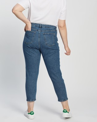 Cotton On Curve Taylor Mom Jeans - High-Waisted (Dark Berkley Blue)