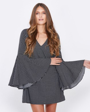 Calli – Livia Bell Sleeve Dress Black Check