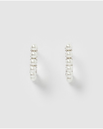 Izoa Mary Curved Stud Earrings Silver Pearl