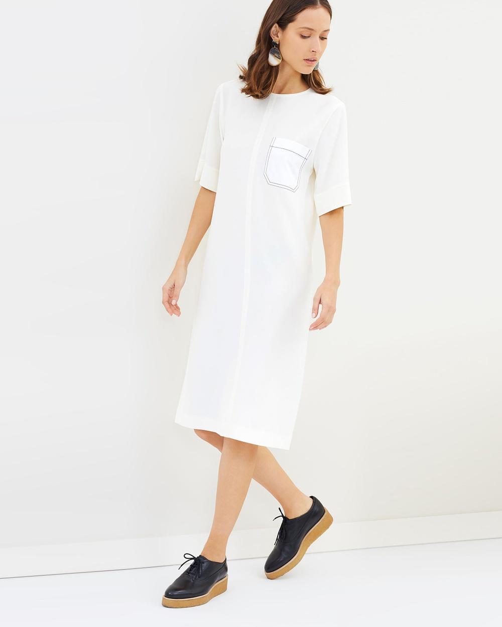 Joseph Ellis Fluid Twill Dress Dresses Off White Ellis Fluid Twill Dress