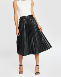 Atmos&Here - PU Belted Pleated Skirt