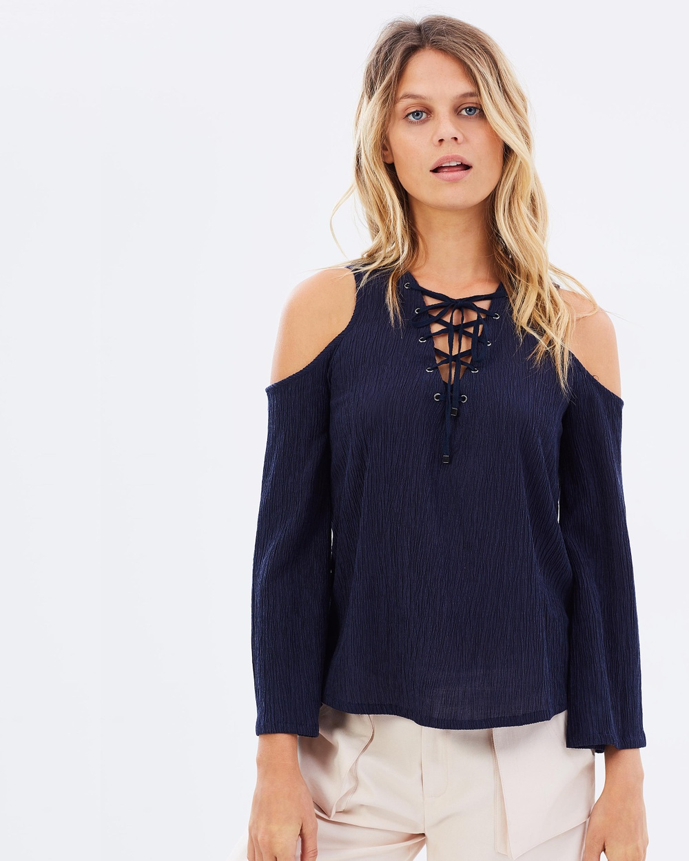 Moon River Front Laced Cold Shoulder Top Tops Navy Front Laced Cold Shoulder Top