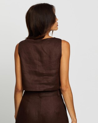 AERE Linen Relaxed Crop - Cropped tops (Chocolate)