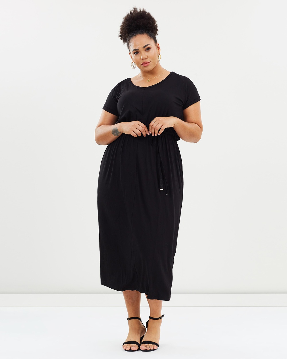 DP Curve Jersey SS Midi Dress Dresses Black Jersey SS Midi Dress