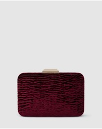 Olga Berg - Tamara Textured Embossed Velvet Clutch