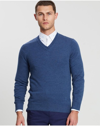 Gieves And Hawkes Lightweight Merino V-neck Knit Pink Blue