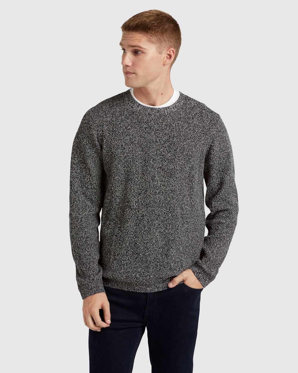 French Connection Mixed Yarn Knit Jumpers & Cardigans MARINE BLUE/WHITE Australia