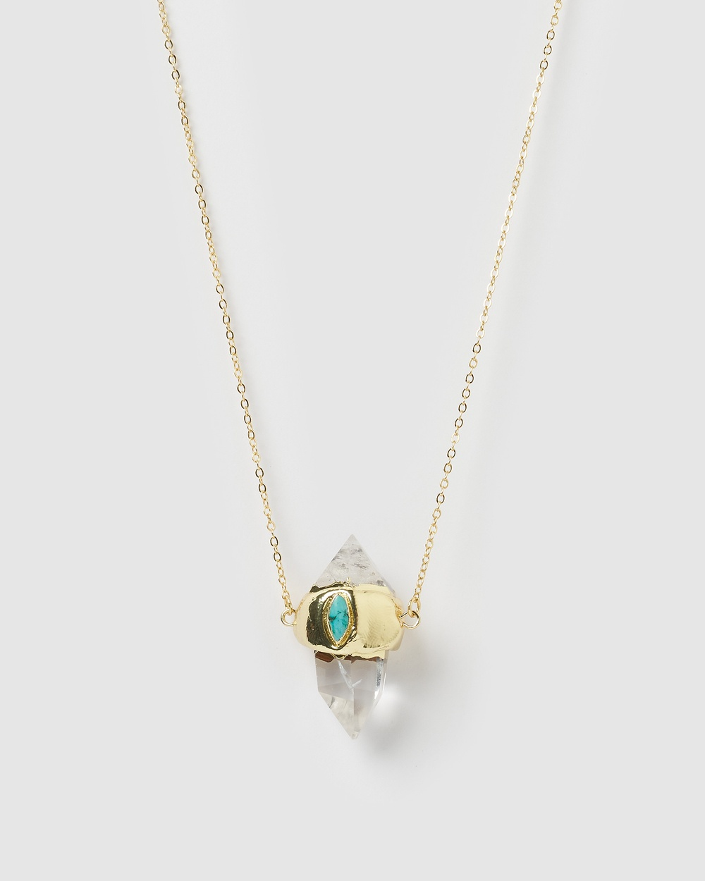 Miz Casa and Co Sabrina Necklace Turquoise Jewellery Turquoise Gold