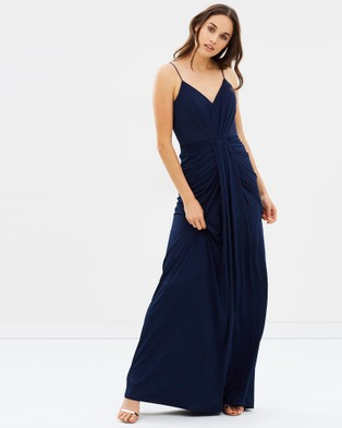 Bariano – Memories V Neck Draped Gown – Bodycon Dresses Navy