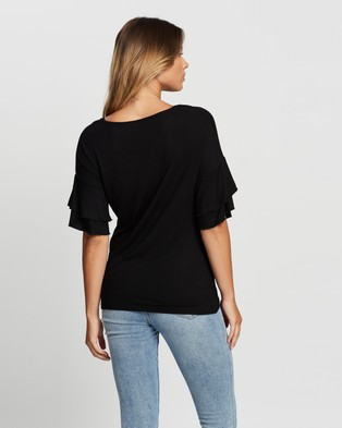 Atmos&Here Demi Flutter Sleeve Top - T-Shirts & Singlets (Black)