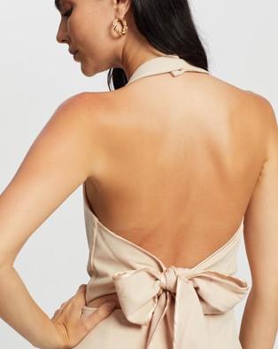 Romance by Honey and Beau Isadora Halter Maxi Dress - Bridesmaid Dresses (Cream)