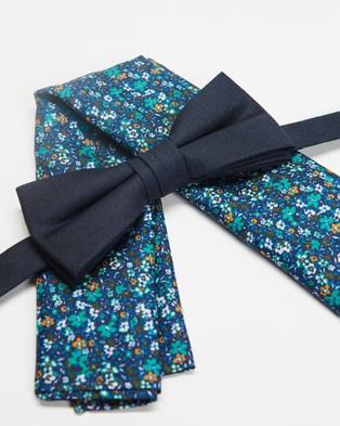 Tie Lab Bow Tie & Pocket Square - Pocket Squares (Floral Orange & Navy)