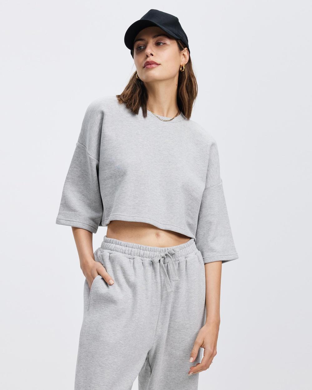 AERE Organic Cotton Oversized Sweat Tee T-Shirts & Singlets Grey Marle