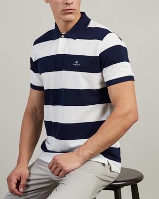 Gant Barstripe Pique SS Rugger Polo - Shirts & Polos (Eggshell)