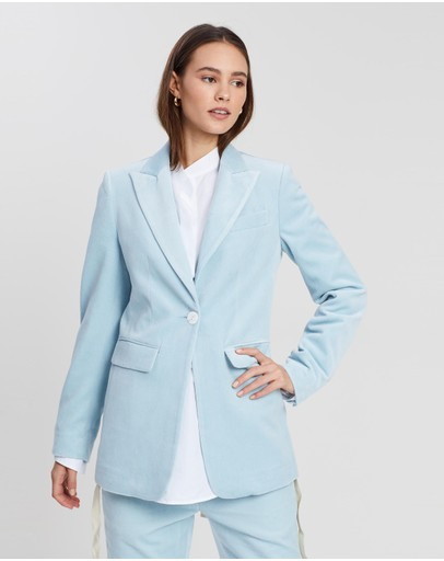 White Story Slim Tailored One-button Jacket Light Blue