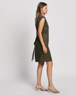 David Lawrence Helene Linen Wrap Dress - Dresses (Khaki)