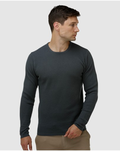 Brooksfield - Textured Core Crew Neck Sweater