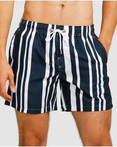 Vacay Swimwear Tijuana Swim Shorts Navy & White